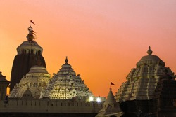 Famous Lord jagannath temple puri at night with colorful sky background