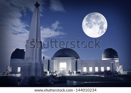 Famous Los Angeles Observatory - Griffith Observatory. Science Photography Collection. Griffith Observatory Los Angeles, California USA.