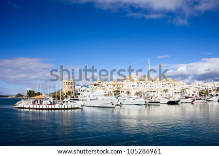 Famous marina of Puerto Banus near Marbella on Costa del Sol, Andalusia, Malaga province, Spain.
