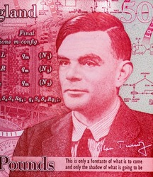 Famous mathematician Alan Turing, Portrait from England 50 Pounds 2021 Polymer Banknotes.