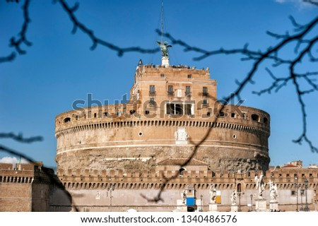 famous mausoleum of Adriano, also known as Castel Sant'Angelo in Rome. #1340486576