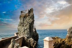 Famous Mazatlan sea promenade, El Malecon, with ocean lookouts and scenic landscapes.