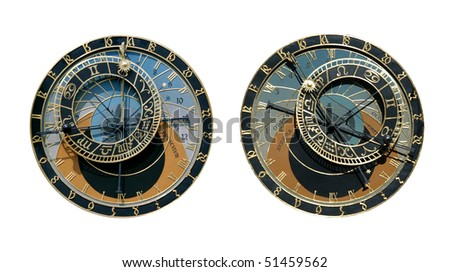 Famous medieval astronomical clock in Prague, Czech Republic, isolated on white. Two different times.