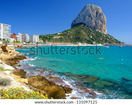 Famous Mediterranean Resort Calpe in Spain - stock photo