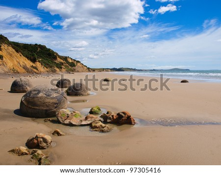 Famous Moeraki boulders near Christchurch, New Zealand