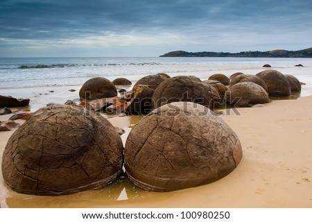 Famous Moeraki Boulders, South Island, New Zealand - stock photo