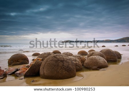 Famous Moeraki Boulders, South Island, New Zealand
