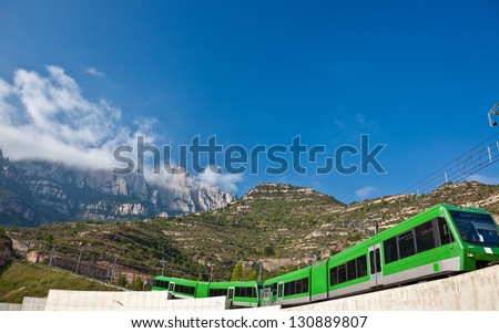 Famous Monserrat  mountains in Spain and  train