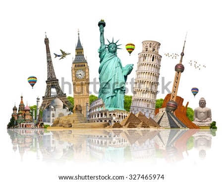 Famous monuments of the world grouped together Foto stock ©