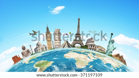 Famous monuments of the world grouped together on the planet Earth Foto stock ©