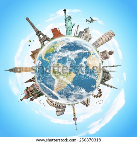 Famous monuments of the world illustrating the travel and holidays Foto stock ©