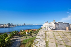 Famous Morro Castle (Castillo de los Tres Reyes del Morro), a fortress guarding the entrance to Havana bay in Havana, Cuba