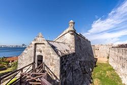 Famous Morro Castle, Castillo de los Tres Reyes del Morro, a fortress guarding the entrance to Havana bay in Havana, Cuba.