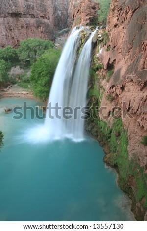 Famous natural landmark Havasu Falls, located on the Havasupai Indian Reservation, Arizona. America