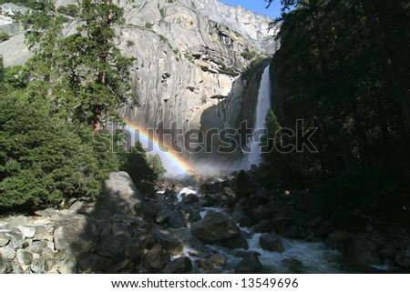 Famous natural landmark Yosemite fall. Yosemite national park. California. USA