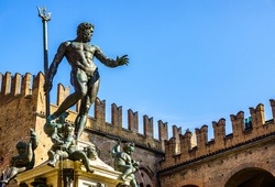 famous neptune well at the old town of Bologna in italy - photo