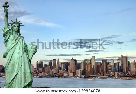 famous new york city, evening cityscape, tourism concept