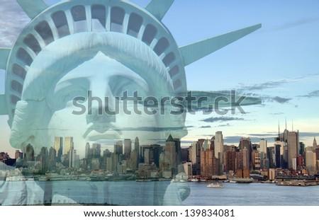 famous new york city, evening cityscape, tourism concept - stock photo