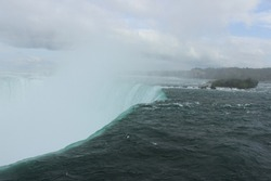 Famous Niagara Falls, the picture taken from Canada Side. A photo taken at the top of Niagara Falls.