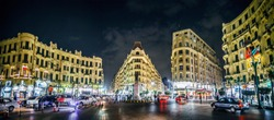 Famous night Talaat Harb Square in downtown Cairo, Egypt