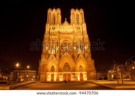 Famous Notre-Dame de Reims at night, UNESCO World heritage site