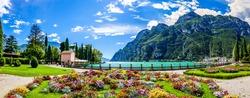 famous old village and landscape at Riva del Garda at the Garda lake