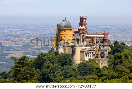 Famous palace of Pena in Sintra, Portugal