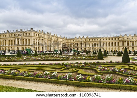 Famous palace Versailles with beautiful gardens. The Palace Versailles was a royal chateau. It was added to the UNESCO list of World Heritage Sites. Paris, France.