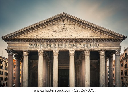 Famous Pantheon in Rome, Italy - stock photo