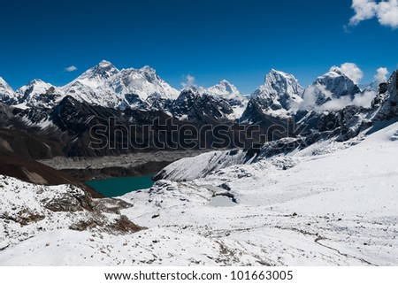 Famous peaks from Renjo Pass: Everest, Makalu, Lhotse, Nuptse, Cholatse. Travel to Nepal