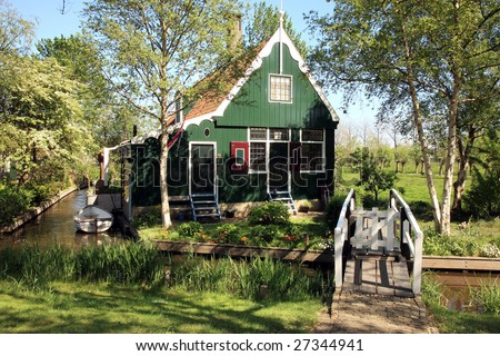 Famous picturesque Zaanse Schans in Netherlands. Dutch typical small house.