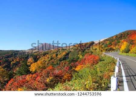 """Famous place """"Bandai Azuma Skyline"""" of colored leaves of Fukushima.We can go free on a sightseeing road. #1244753596"""