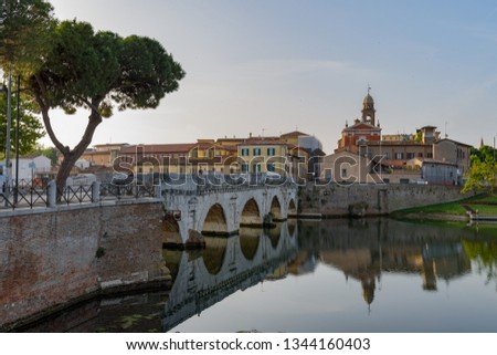 Famous place in Rimini, Italy. Ancient architecture. The Tiberius bridge. #1344160403