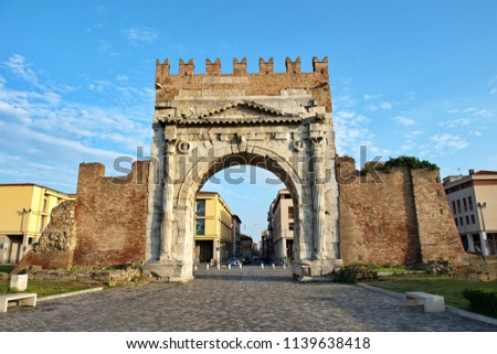 Famous place in Rimini, Italy. Arch of Augustus, the ancient gate of the city. #1139638418