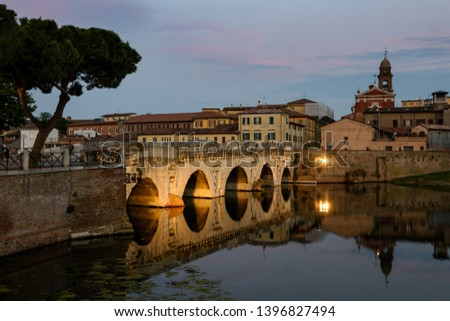 Famous place in Rimini, Italy. Tiberius Bridge in the late evening. #1396827494