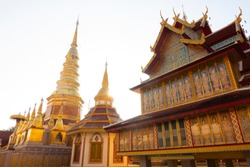Famous place must visit when travel in Lamphun Province. Wat Phra Bat Huai Tom.