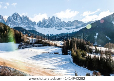 Famous place of the world, Santa Maddalena village with magical Dolomites mountains in background. Winter landscape. #1414943282