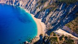 Famous Platia Ammos beach in Cephalonia (Kefalonia) island, Greece. Aerial view of Platia Ammos beach , one of famous beach in Kefalonia island in Greece.