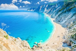 Famous Platia Ammos beach in Kefalonia island, Greece. The beach was affected by the earthquake in the spring of 2014