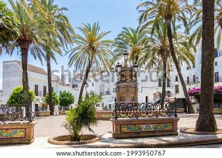 Famous Plaza de España (Spain Square) in Vejer de la Frontera, Cadiz, Andalucia, Spain Foto stock ©
