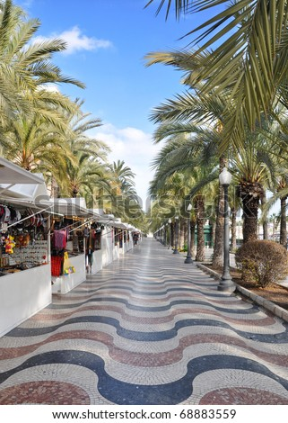 Famous Plaza Street Market Costa Blanca Alicante Spain Europe Afternoon