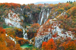 Famous Plitvice lakes with beautiful autumn colors and magnificent views of the waterfalls at  Plitvice national park in Croatia. Europe