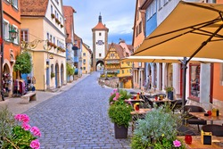 Famous Plonlein gate and cobbled street of historic town of Rothenburg ob der Tauber view, Romantic road of Bavaria region of Germany