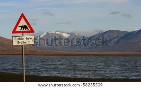 Famous Polar Bear road sign on Svalbard