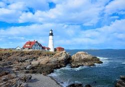 Famous portland headlight lighthouse off the coast of maine