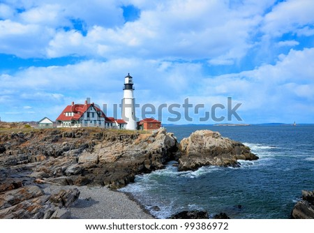 Famous portland headlight lighthouse off the coast of maine