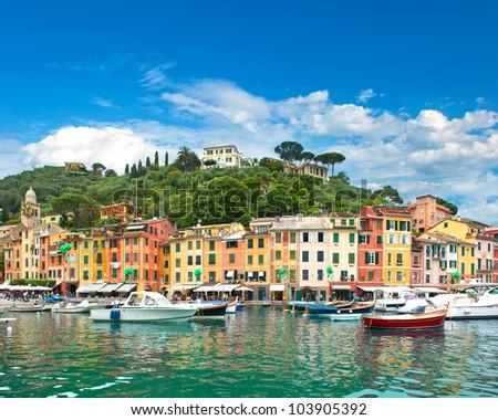 famous Portofino village on Ligurian coast, Italy