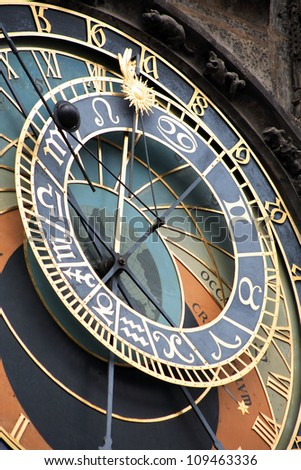 Famous Prague Town Hall tower with astronomical clock, Czech Republic - stock photo