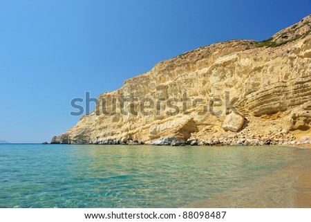 Famous Red Beach in Matala, Crete, Greece