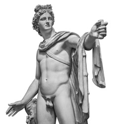 Famous roman greek copy of Apollo di belvedere sculpture isolated on white background.